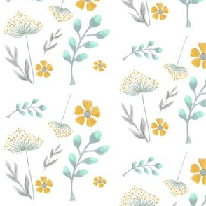 Isla's Garden / Mint Mustard Gray Floral