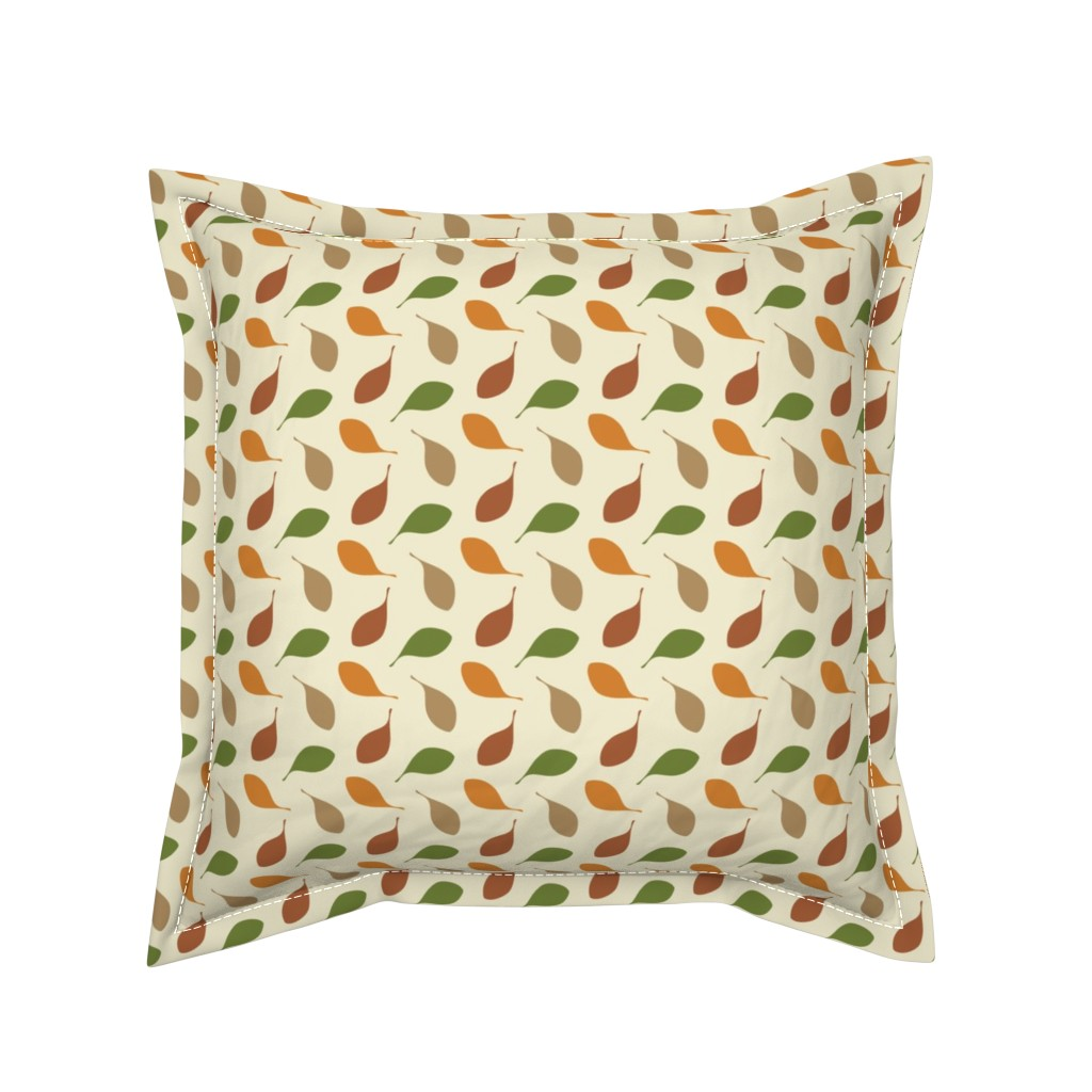 Serama Throw Pillow featuring Falling Leaves, Swirling Leaf, Autumn Tree Leaf, Scarf Print by galleryinthegardendesigns