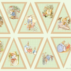 Peter Rabbit Bunting - Light Moss Green - small scale