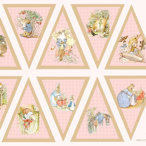 Light Pink Peter Rabbit Bunting - Large Scale