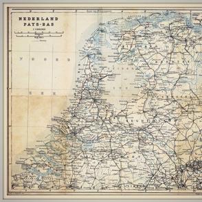 Holland map, antique, FQ