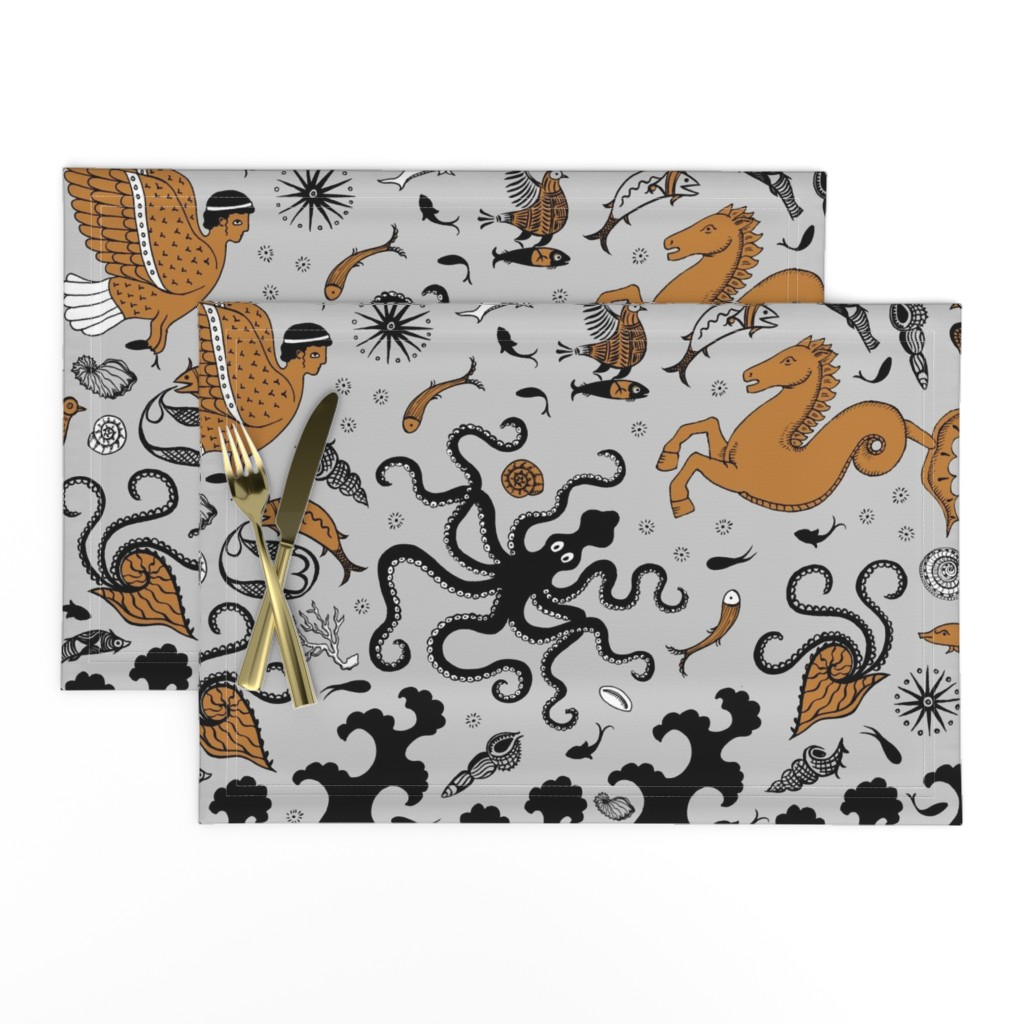 Lamona Cloth Placemats featuring Minoan Sea and Sky creatures by cecca