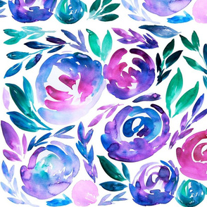 Vibrant Blues Purples Watercolor Floral Bold Modern