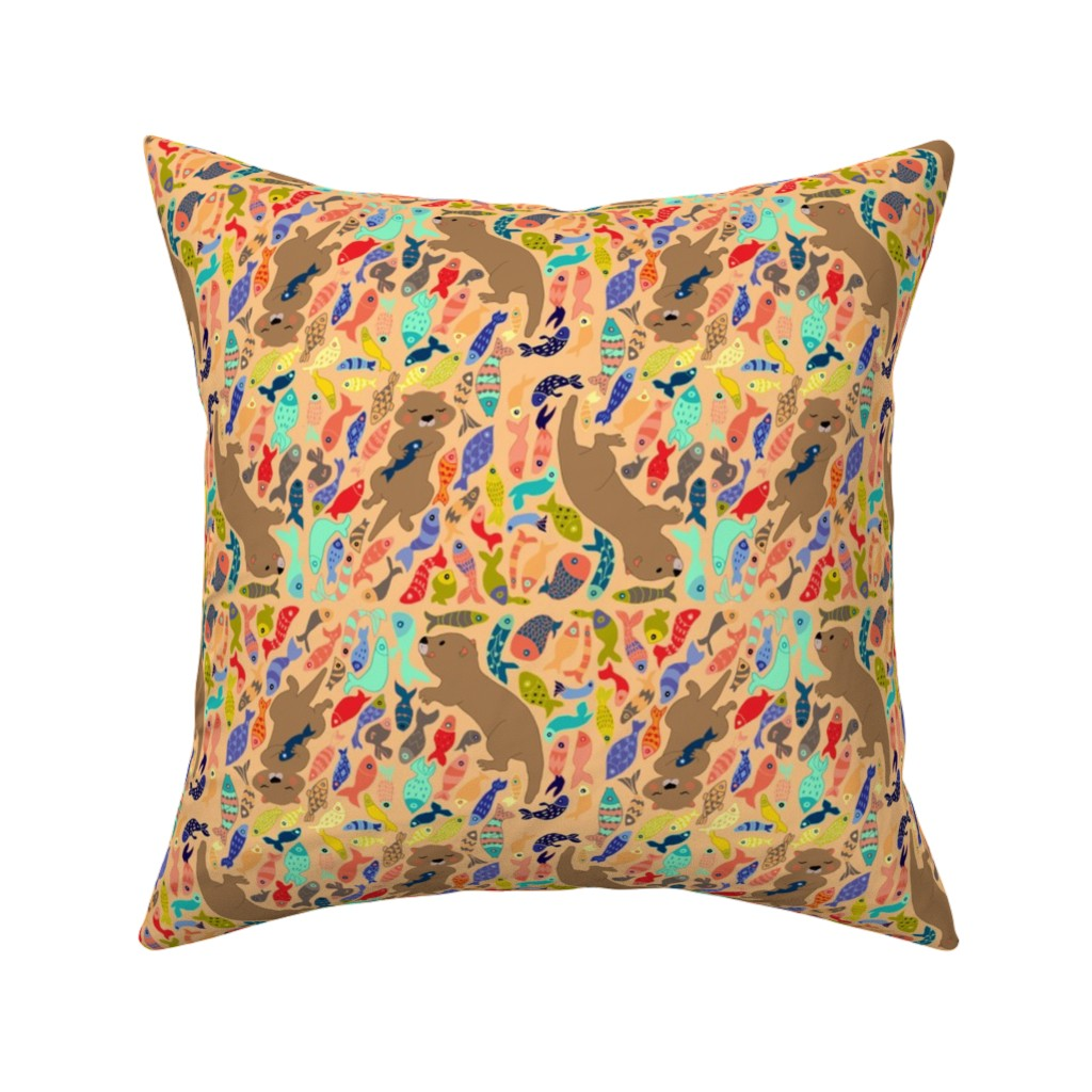 Catalan Throw Pillow featuring otter with fishes  by potyautas