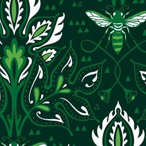 BEE DAMASK - Deep Emerald
