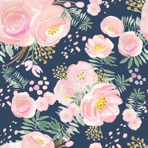 Navy floral pink and gold, LARGE scale, watercolour floral, wall paper, decor,