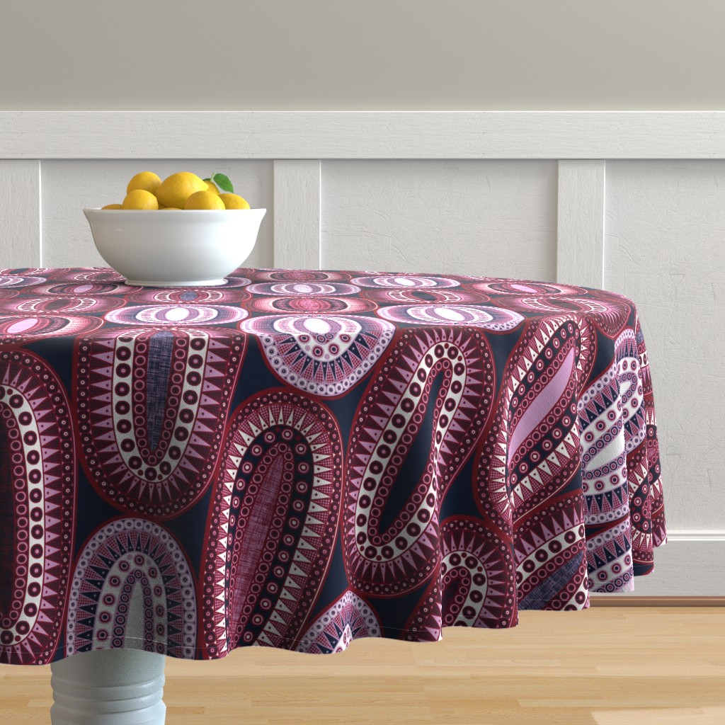 Malay Round Tablecloth featuring Cherry Bomb by spellstone