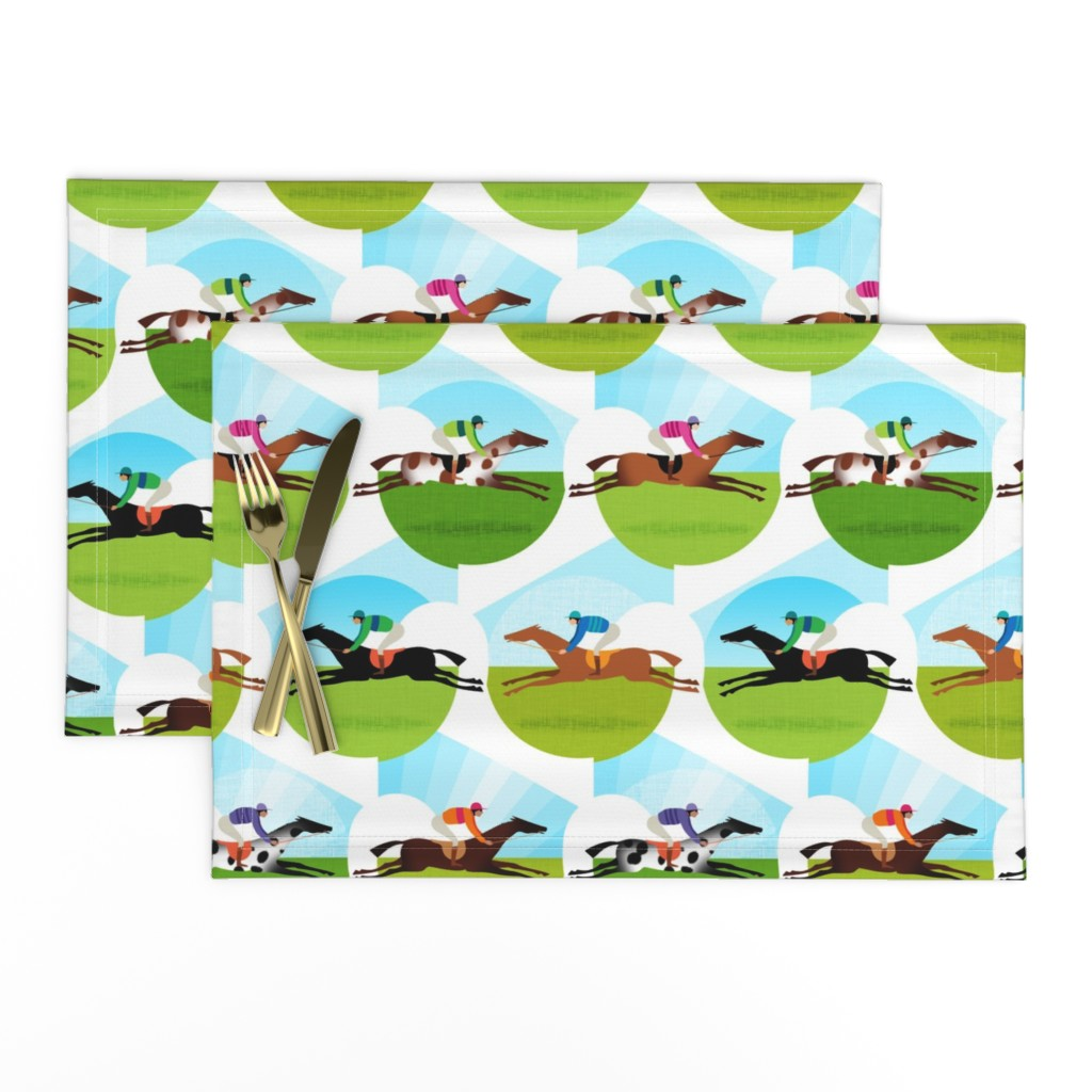 Lamona Cloth Placemats featuring Race Day by spellstone