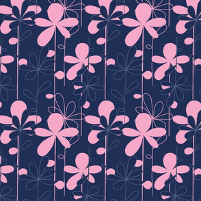 HANAKO pink flowers on dark blue background