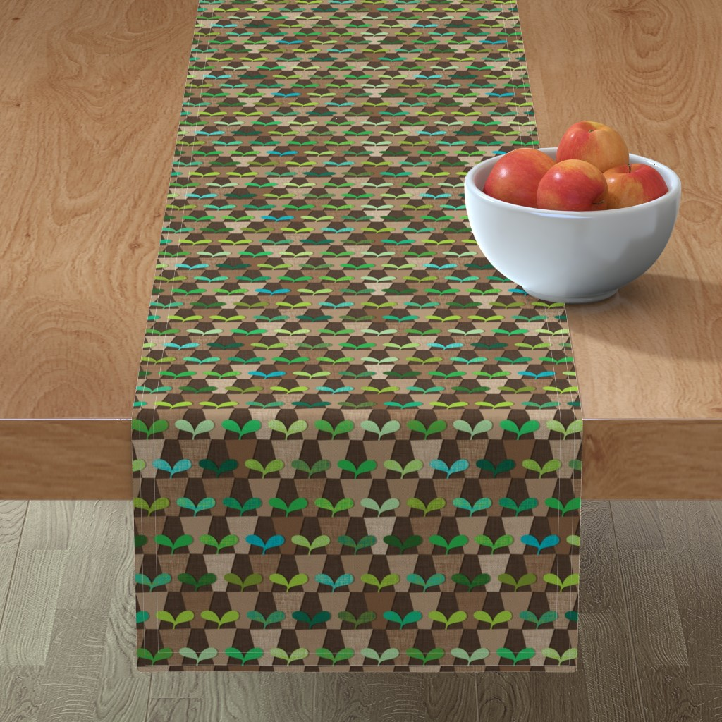 Minorca Table Runner featuring Grandmother's Pot Garden by spellstone