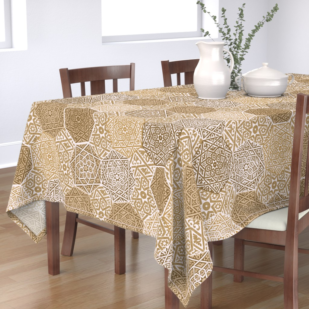 Bantam Rectangular Tablecloth featuring Sandlewood Souk by spellstone