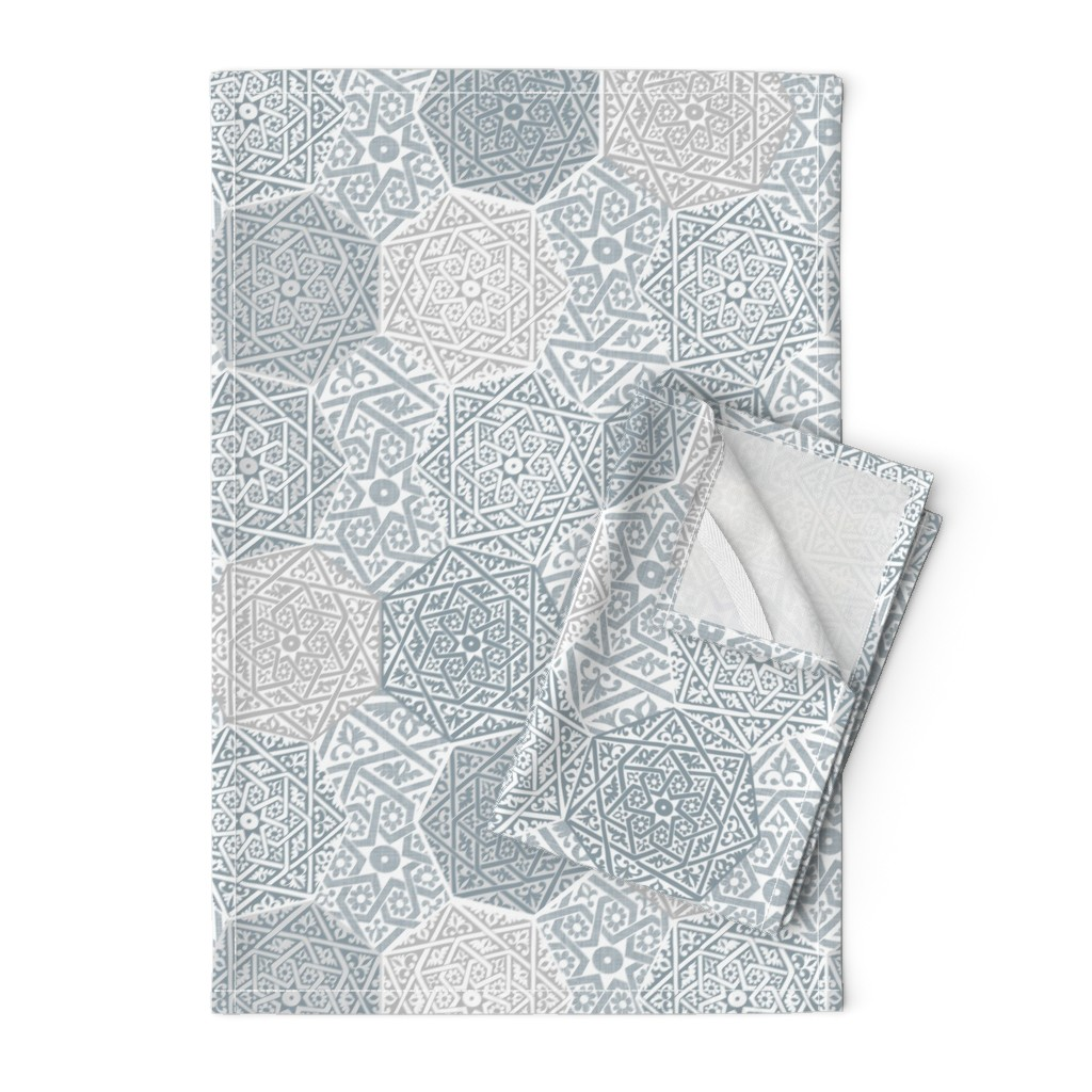 Orpington Tea Towels featuring Small Silver Souk by spellstone