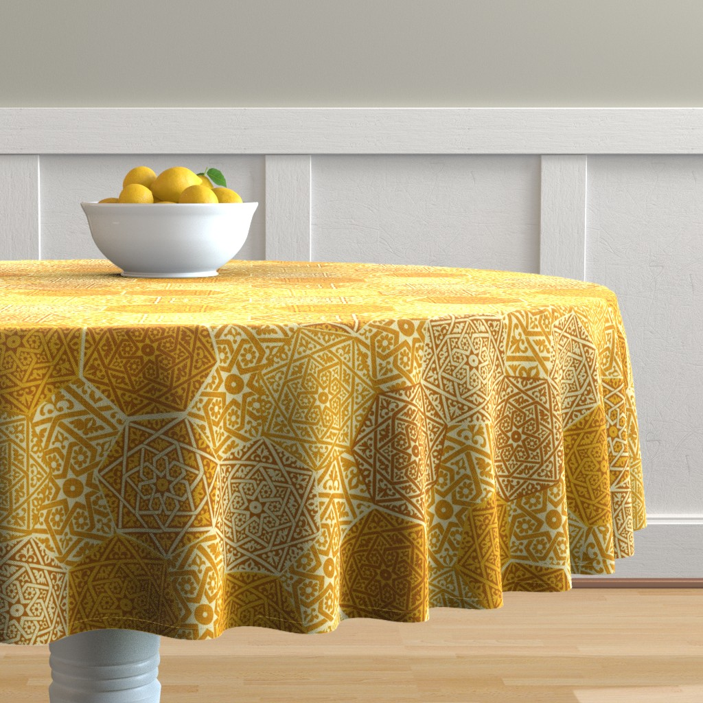 Malay Round Tablecloth featuring Small Saffron Souk by spellstone