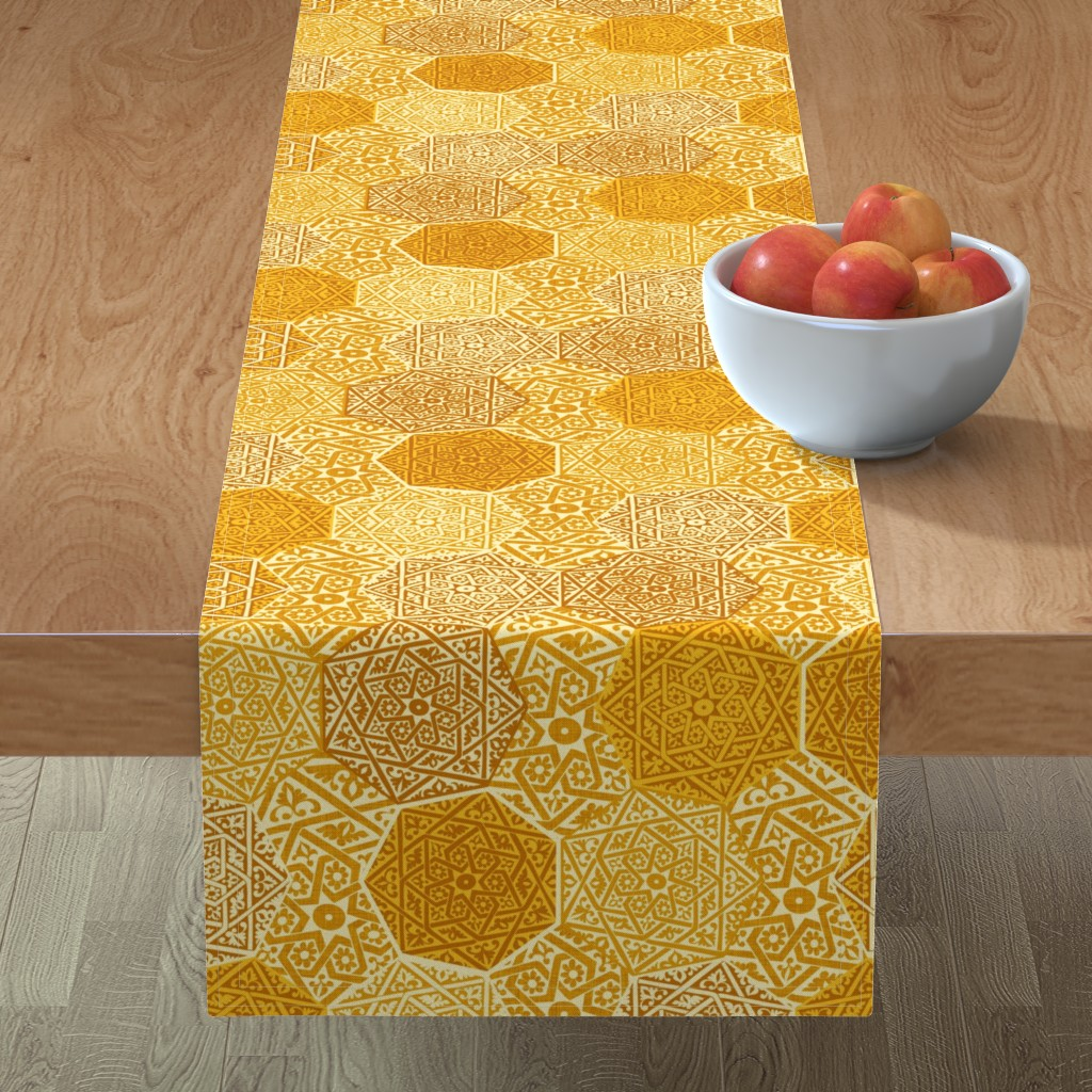 Minorca Table Runner featuring Small Saffron Souk by spellstone