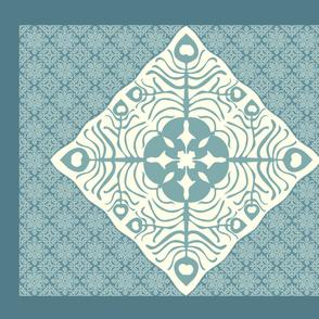 Peacock Feather & Butterfly Hawaiian Quilt3_BLUE-GRAY_AQUA_CREAM