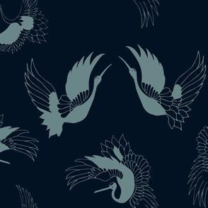 flying cranes - blue on navy