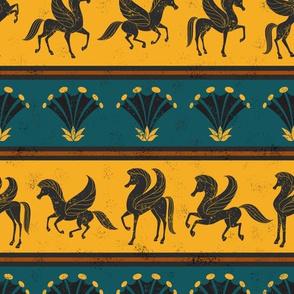 Pegasus and Papyrus Flower Stripe Fresco