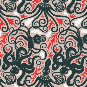 Minoan octopus pattern. Ancient Greek animals.