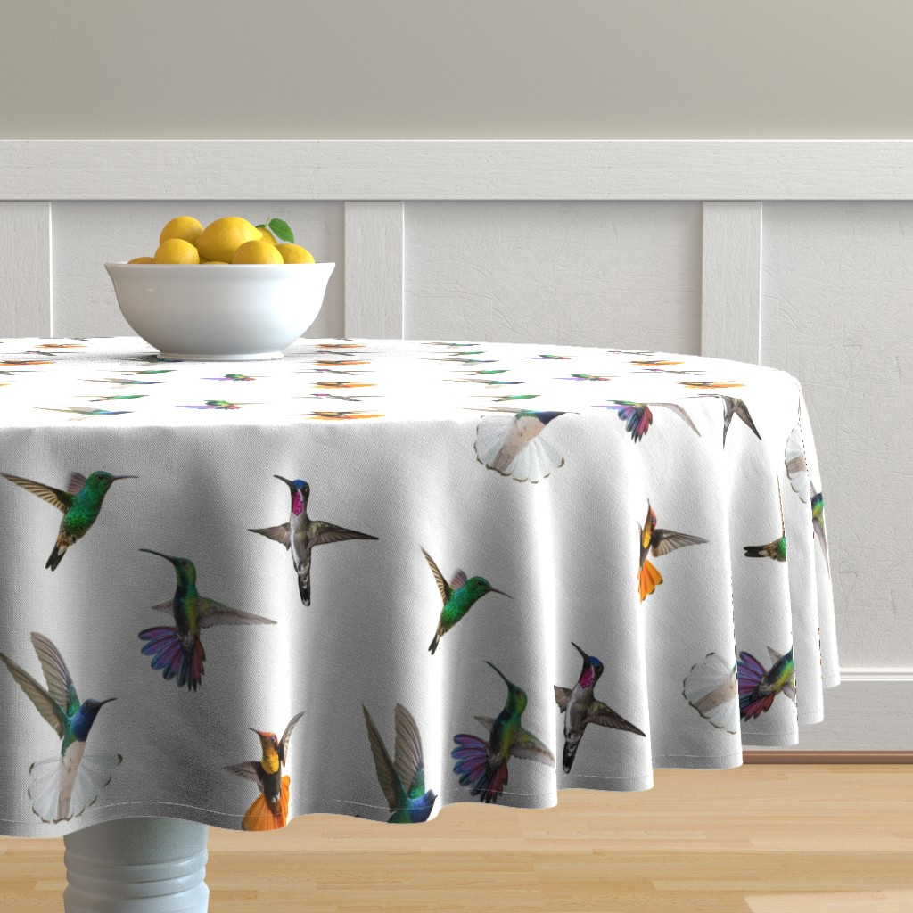 Malay Round Tablecloth featuring Hummingbirds of T and T Large white by landofthehummingbird