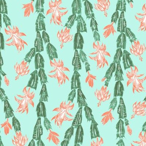 Tropical cactus in coral and surf green