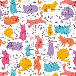 Colorful Cats Silhouettes
