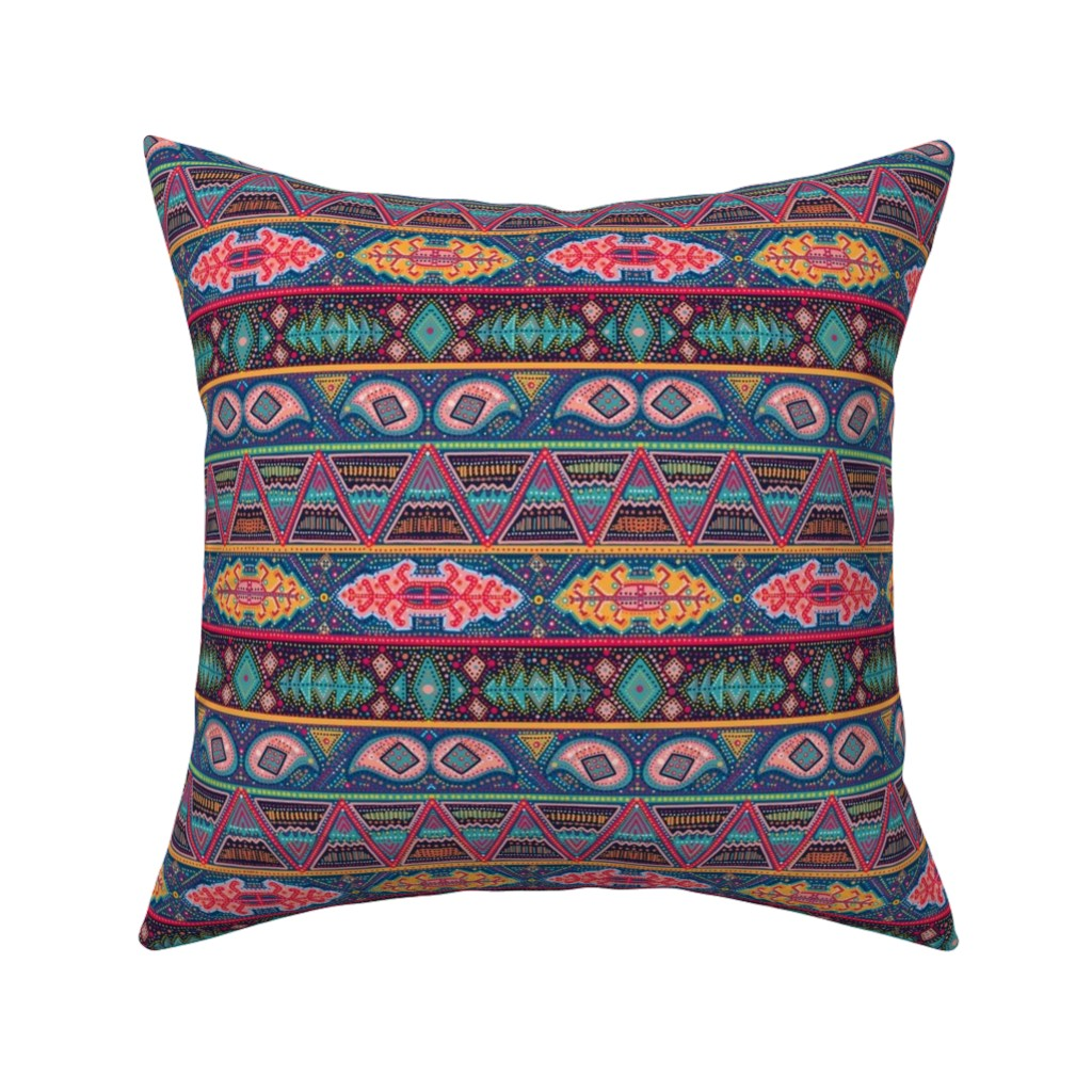 Catalan Throw Pillow featuring kilim inspired ribbon stripe by beesocks