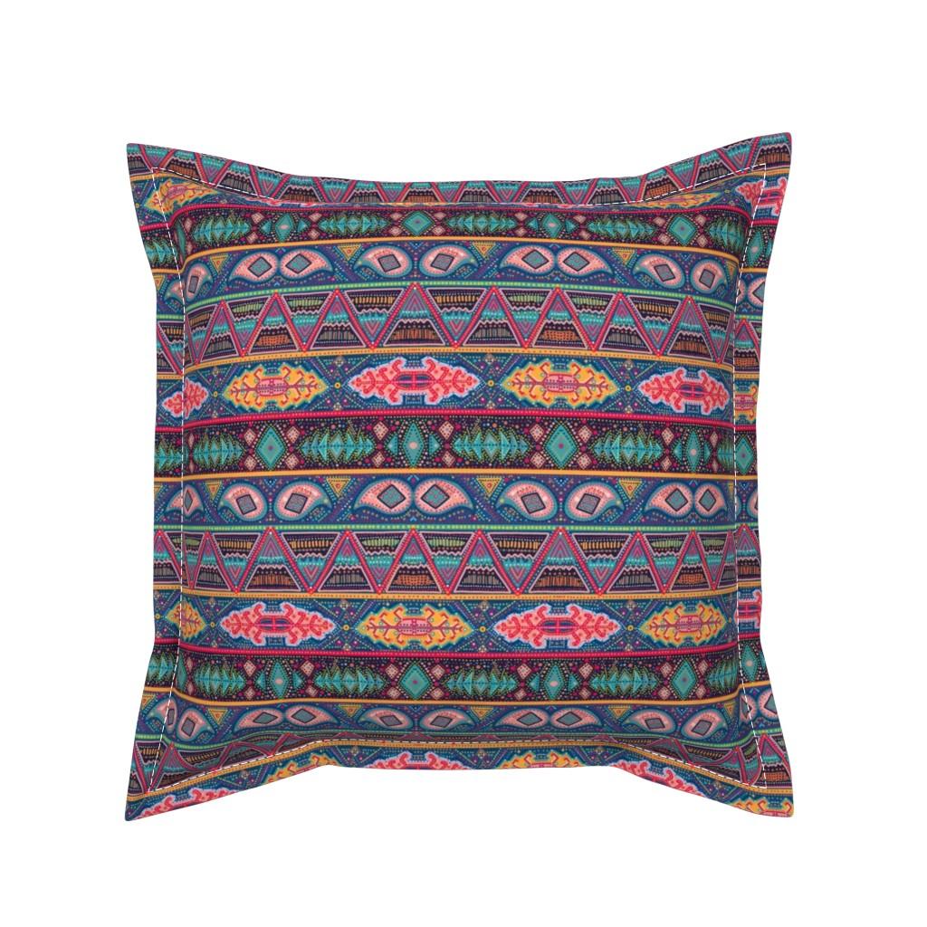 Serama Throw Pillow featuring kilim inspired ribbon stripe by beesocks
