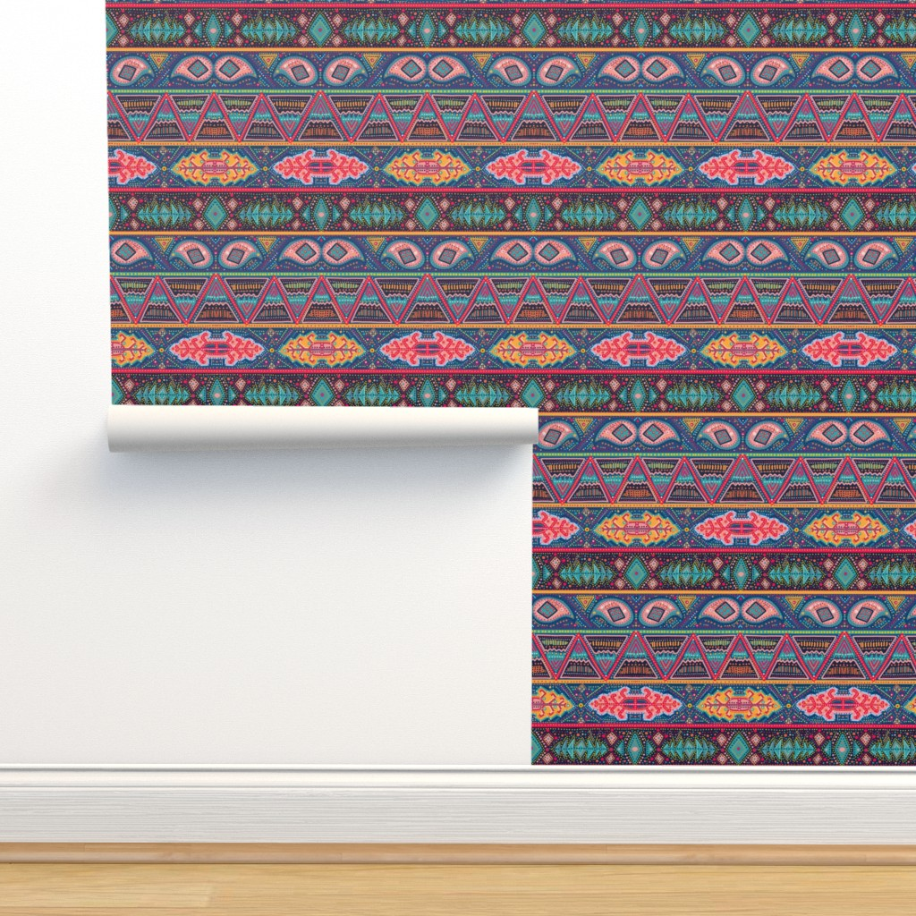 Isobar Durable Wallpaper featuring kilim inspired ribbon stripe by beesocks