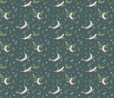 Otter pattern - Dark green background