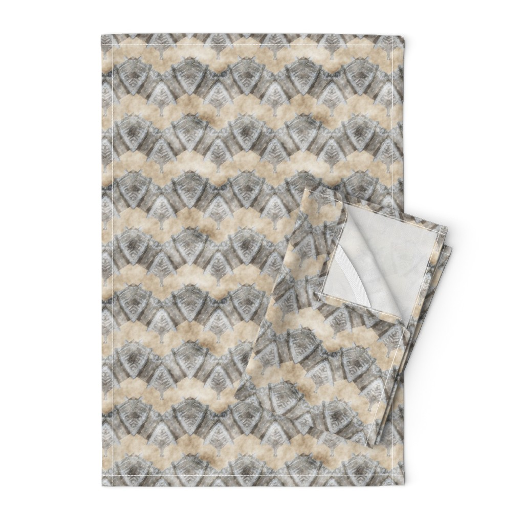 Orpington Tea Towels featuring ETHNIC SHIELD CHEVRON 1 WATERCOLOR WOOD STONE BEIGE GREY by paysmage