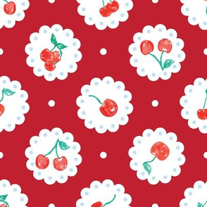 Vintage Red Cherries Doily Lace