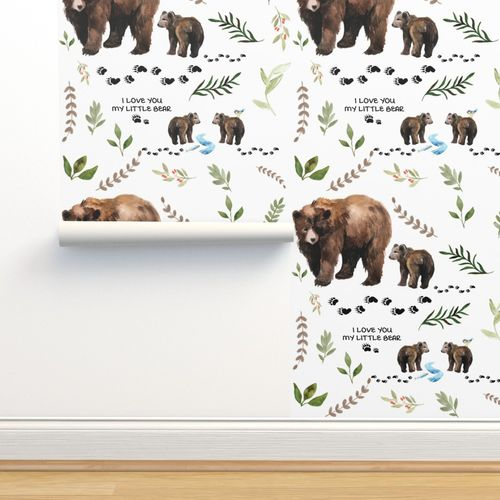 Removable Water-Activated Wallpaper Bear Woodland Animals Grizzly Polar Brown