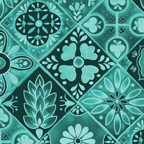 Watercolor Talavera Tiles- Teal // spanish mexican ceramic diamond floral tile emerald mint teal fabric