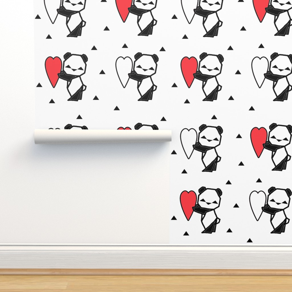 Isobar Durable Wallpaper featuring Origami Panda with Heart by twix