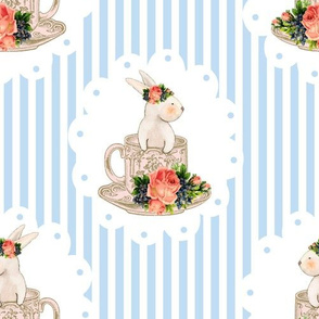 Easter Bunnies and Teacups on Blue Stripes