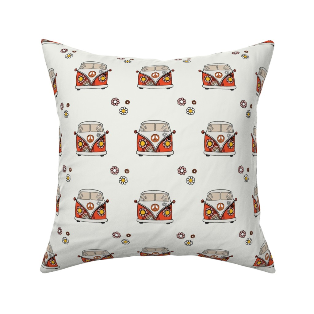 Catalan Throw Pillow featuring VW Bus by anniemontgomerydesign