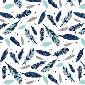 mint navy grey feathers