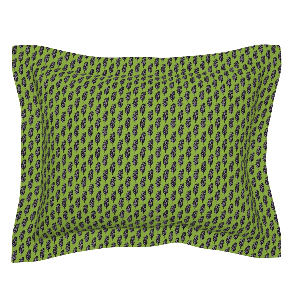 Sebright Pillow Sham featuring Lavender Sprig  Bright Green Background by betz