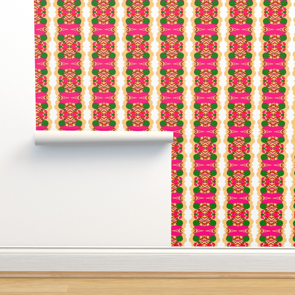 Isobar Durable Wallpaper featuring Nzuri  1 In Pink Green White & Beige  by tabasamu_design