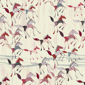 American Prairie: Saltbox Horses - Red and Pink on Ivory White