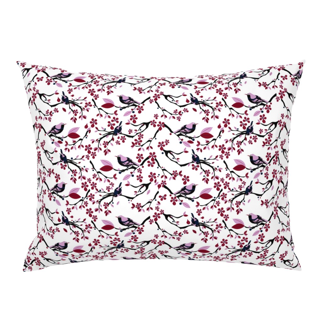 Campine Pillow Sham featuring Birds and Blossoms by colour_angel_by_kv