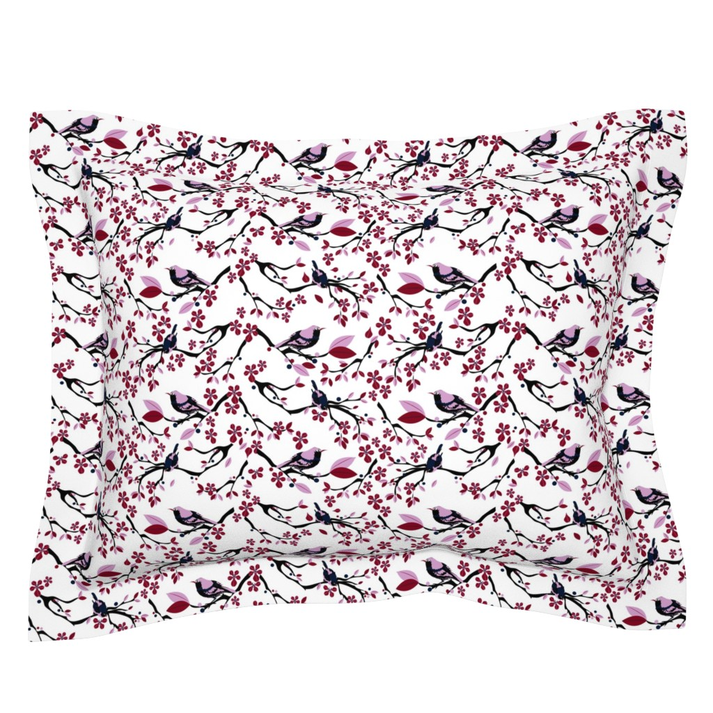 Sebright Pillow Sham featuring Birds and Blossoms by colour_angel_by_kv