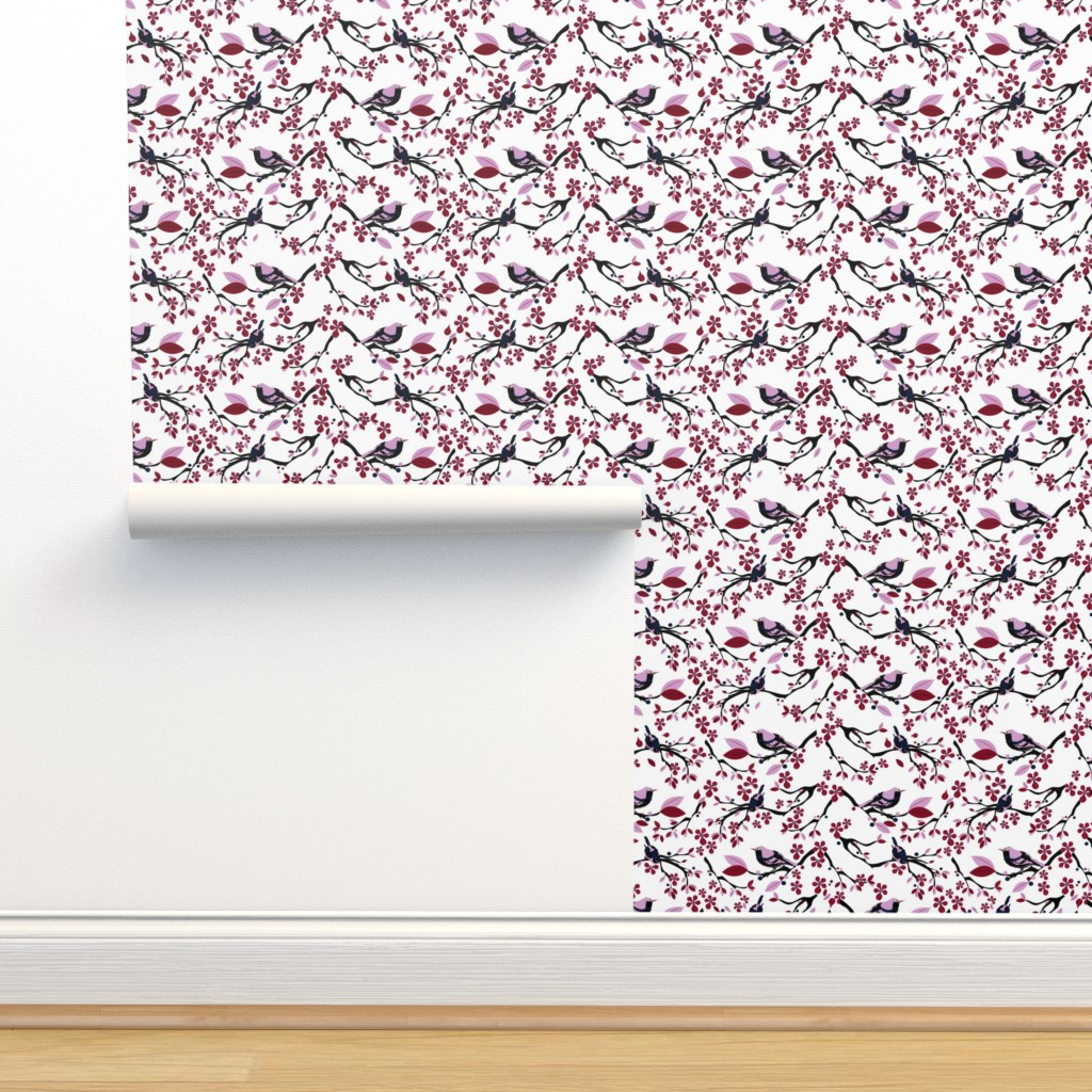 Isobar Durable Wallpaper featuring Birds and Blossoms by colour_angel_by_kv