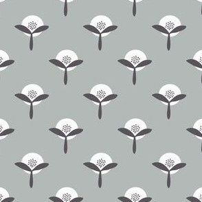 Retro Summer Flower Garden grey