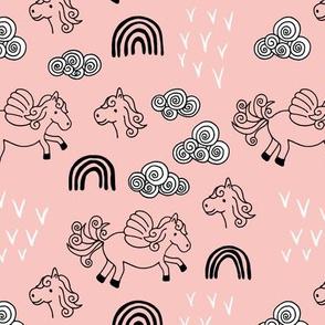 Cool clouds rainbows and horses flowers pegasus illustration design pastel pink