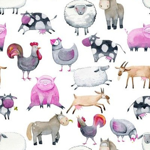 Watercolor Farm Animals 8""
