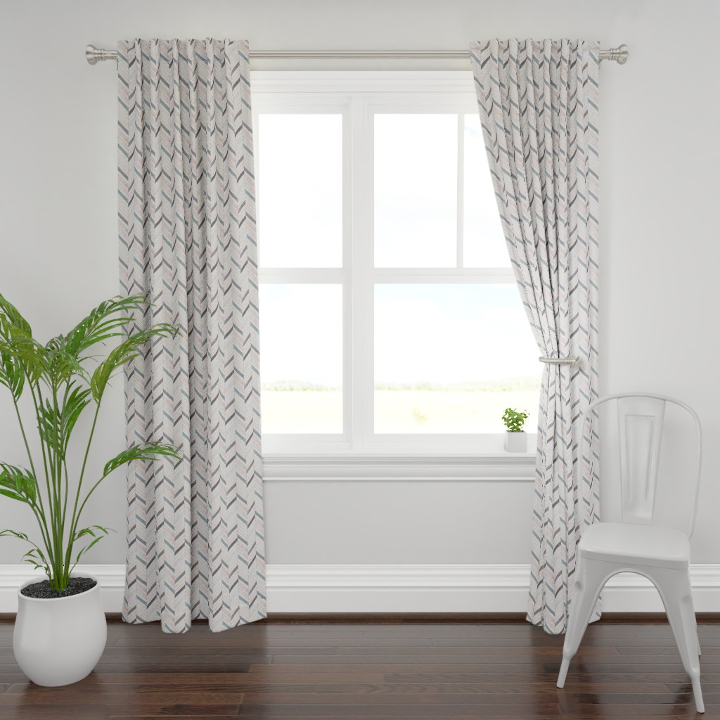 Plymouth Curtain Panel featuring Blush Herringbone Wood by hipkiddesigns