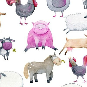 Watercolor Farm Animals 12""