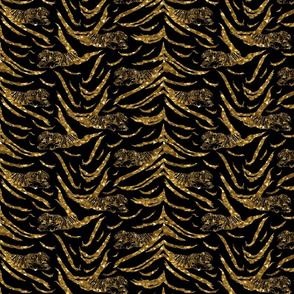 Tribal Tiger stripes print - faux golden glitter small
