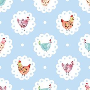 Chicken Doily Blue Polka Dots Hens